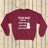 Stand Back! I Have a Bass and I'm Not Afraid to Use It Bluegrass Sweatshirt - Choose Color - Sunshine and Spoons Shop