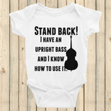 Stand Back! I Have a Bass and I'm Not Afraid to Use It Bluegrass Onesie Bodysuit - Choose Color - Sunshine and Spoons Shop