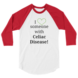 I Love Someone with Celiac Disease 3/4 Sleeve Unisex Raglan - Choose Color - Sunshine and Spoons Shop