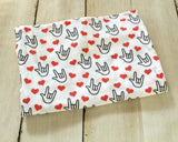 Organic Muslin Gauze ASL I Love You Swaddle Blanket - Sunshine and Spoons Shop