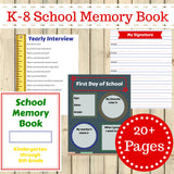Kindergarten - 8th Grade School Memory Book Journal Printable 20 + Pages Instant Download - Sunshine and Spoons Shop