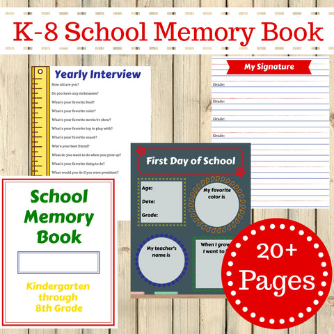 Kindergarten - 8th Grade School Memory Book Journal Printable 20 + Pages Instant Download