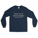 Keep Out Of Direct Sunlight POTS Awareness Unisex Long Sleeved Shirt - Choose Color - Sunshine and Spoons Shop
