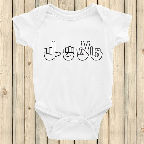 Personalized Sign Language ASL Onesie Bodysuit - Choose Color