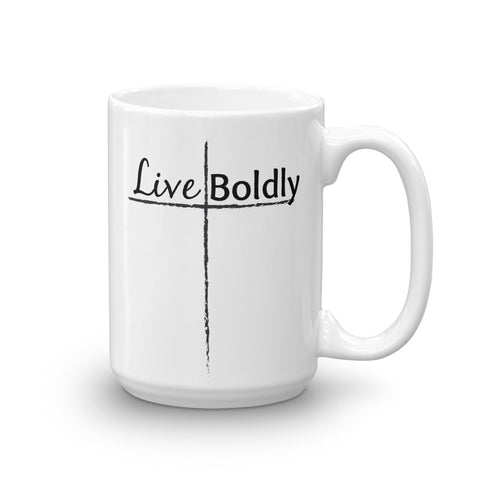 Live Boldly Cross Coffee Tea Mug - Choose Size