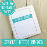 Special Needs Chronic Illness Medical Binder Printable