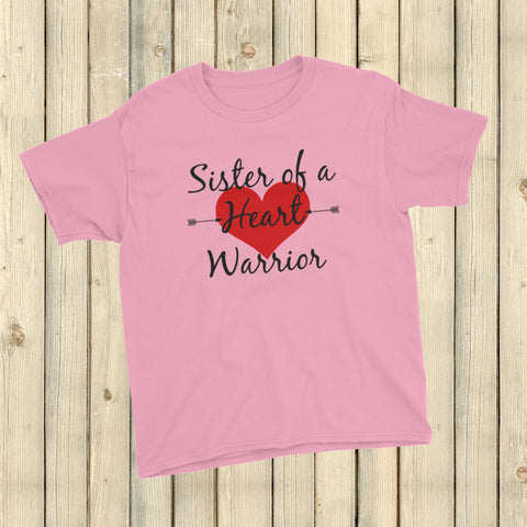 Sister of a Heart Warrior CHD Heart Defect Kids' Shirt - Choose Color - Sunshine and Spoons Shop