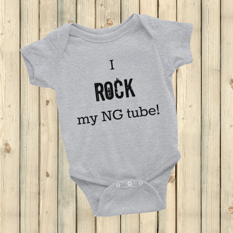 I Rock My NG Tube Feeding Tube Onesie Bodysuit - Choose Color - Sunshine and Spoons Shop