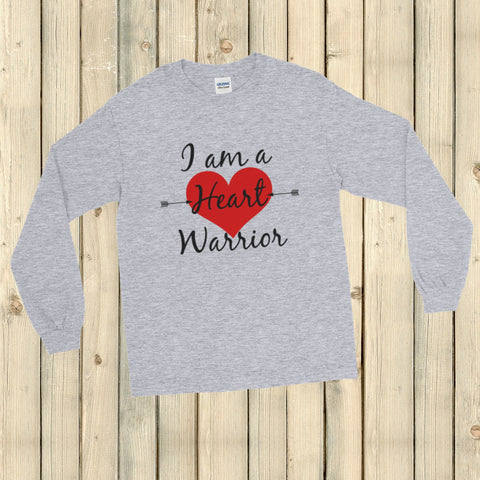 I am a Heart Warrior CHD Heart Defect Unisex Long Sleeved Shirt - Choose Color - Sunshine and Spoons Shop