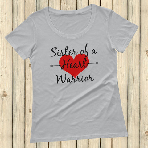 Sister of a Heart Warrior CHD Heart Defect Scoop Neck Women's Shirt - Choose Color - Sunshine and Spoons Shop