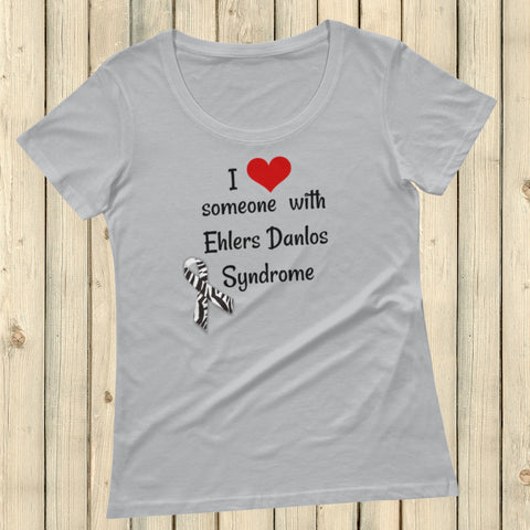 I Love Someone with Ehlers Danlos Syndrome EDS Spoonie Scoop Neck Women's Shirt - Choose Color - Sunshine and Spoons Shop