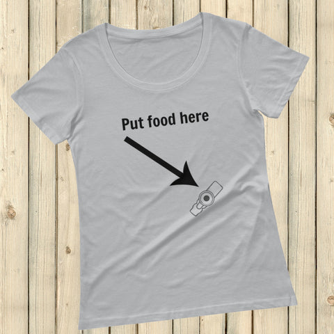 Put Food here G Tube Feeding Tube Scoop Neck Women's Shirt - Choose Color