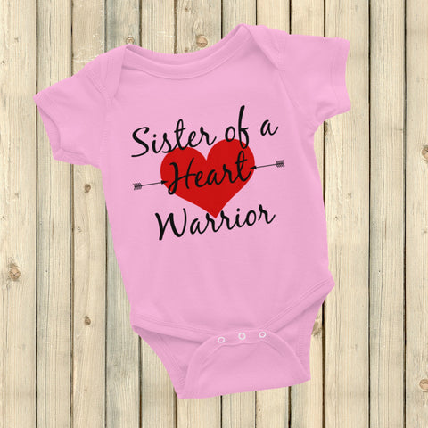 Sister of a Heart Warrior CHD Heart Defect Onesie Bodysuit - Choose Color