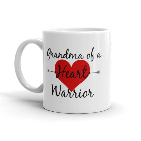 Grandma of a Heart Warrior CHD Heart Defect Coffee Tea Mug - Choose Size