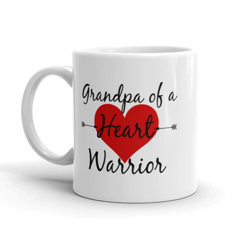 Grandpa of a Heart Warrior CHD Heart Defect Coffee Tea Mug - Choose Size