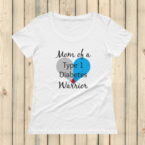 Mom of a Type 1 Diabetes Warrior T1D Scoop Neck Women's Shirt - Choose Color - Sunshine and Spoons Shop