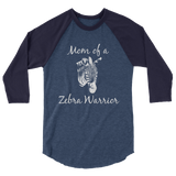 Mom of a Zebra Warrior Rare Disease Ehlers Danlos EDS 3/4 Sleeve Unisex Raglan - Choose Color - Sunshine and Spoons Shop