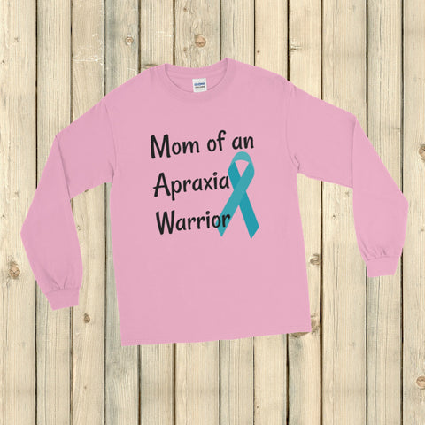 Mom of an Apraxia Warrior Unisex Long Sleeved Shirt - Choose Color - Sunshine and Spoons Shop
