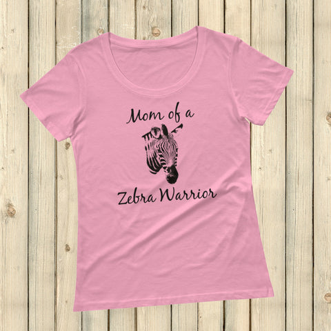 Mom of a Zebra Warrior Rare Disease Ehlers Danlos EDS Scoop Neck Women's Shirt - Choose Color - Sunshine and Spoons Shop