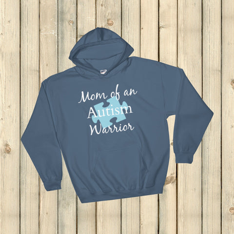Mom of an Autism Warrior Awareness Puzzle Piece Hoodie Sweatshirt - Choose Color