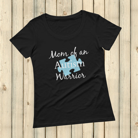 Mom of an Autism Warrior Awareness Puzzle Piece Scoop Neck Women's Shirt - Choose Color