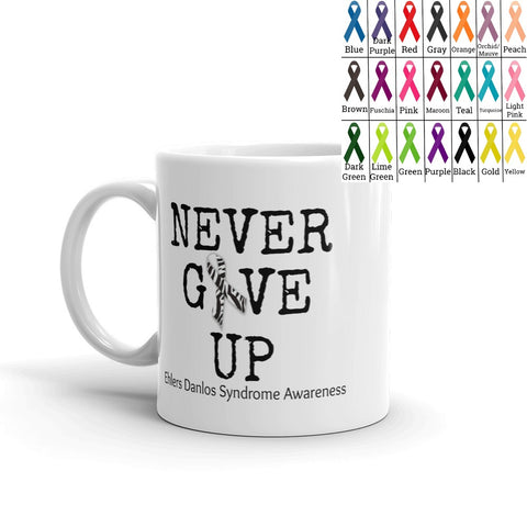 Never Give Up Awareness Ribbon Coffee Tea Mug - Choose Size