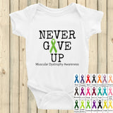 Never Give Up Awareness Ribbon Onesie Bodysuit - Choose Color - Sunshine and Spoons Shop