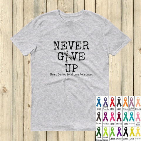 Never Give Up Awareness Ribbon Unisex Shirt - Choose Color - Sunshine and Spoons Shop