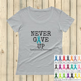 Never Give Up Awareness Ribbon Scoop Neck Women's Shirt - Choose Color - Sunshine and Spoons Shop