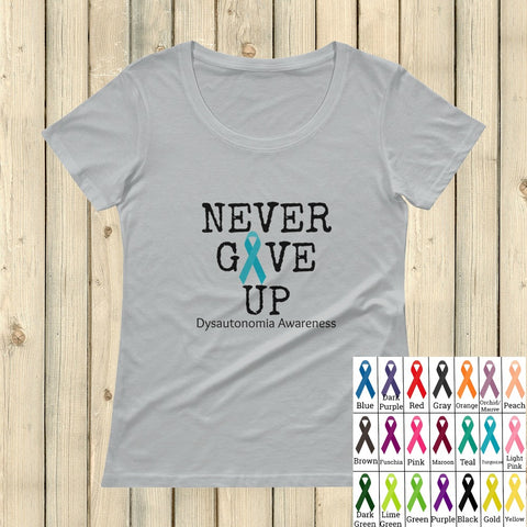 Never Give Up Awareness Ribbon Scoop Neck Women's Shirt - Choose Color
