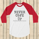 Never Give Up Awareness Ribbon 3/4 Sleeve Unisex Raglan - Choose Color - Sunshine and Spoons Shop