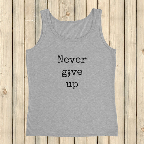 Never Give Up Semicolon Women's Tank Top - Choose Color