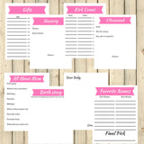 Pink Theme Pregnancy Memory Book Journal Printable 35 + Pages Instant Download - Sunshine and Spoons Shop