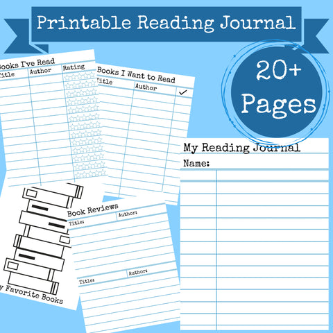 Reading Book Journal Printable 20+ Pages Instant Download