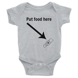 Put Food here G Tube Feeding Tube Onesie Bodysuit - Choose Color