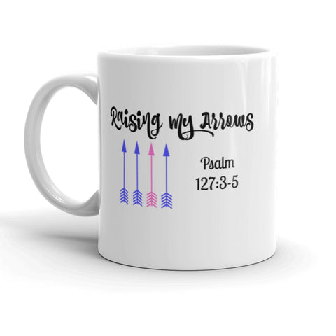 Raising My Arrows Psalms Personalized Coffee Tea Mug - Choose Size