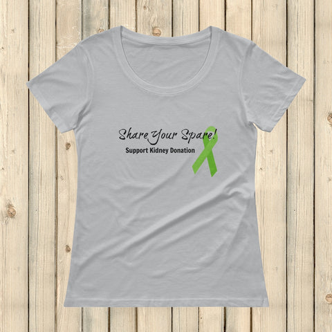 Share Your Spare Kidney Donation Scoop Neck Women's Shirt - Choose Color - Sunshine and Spoons Shop