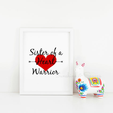 Sister of a Heart Warrior Printable Print Art - Sunshine and Spoons Shop