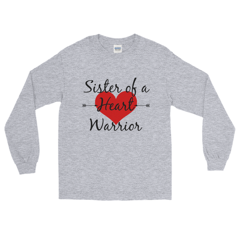 Sister of a Heart Warrior CHD Heart Defect Unisex Long Sleeved Shirt - Choose Color - Sunshine and Spoons Shop