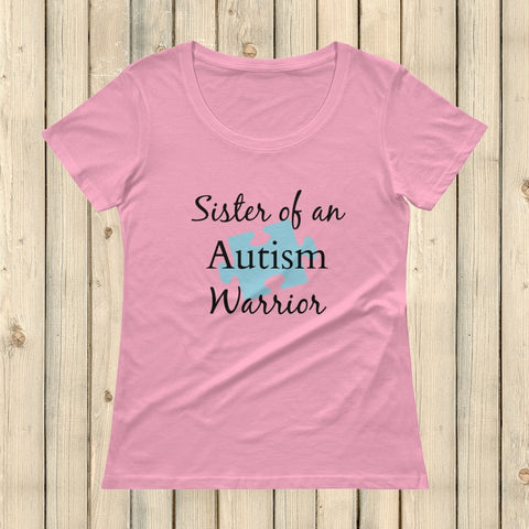 Sister of an Autism Warrior Awareness Puzzle Piece Scoop Neck Women's Shirt - Choose Color - Sunshine and Spoons Shop
