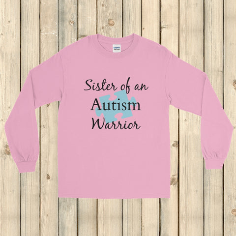 Sister of an Autism Warrior Awareness Puzzle Piece Unisex Long Sleeved Shirt - Choose Color - Sunshine and Spoons Shop