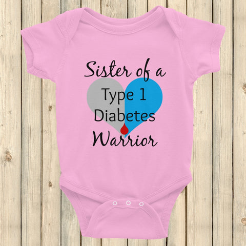 Sister of a Type 1 Diabetes Warrior T1D Onesie Bodysuit - Choose Color - Sunshine and Spoons Shop