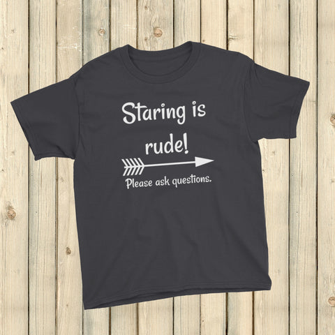Staring is Rude! Please Ask Questions Special Needs Chronic Illness Kids' Shirt - Choose Color - Sunshine and Spoons Shop