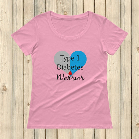 I am a Type 1 Diabetes Warrior T1D Scoop Neck Women's Shirt - Choose Color - Sunshine and Spoons Shop