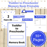Blue Theme Toddler to Preschooler Memory Book Journal Printable 35+ Pages Instant Download - Sunshine and Spoons Shop