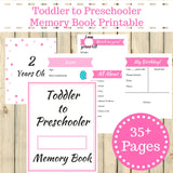 Pink Theme Toddler to Preschooler Memory Book Journal Printable 35+ Pages Instant Download
