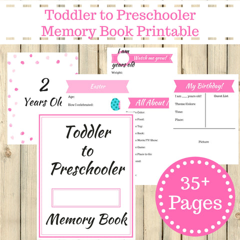 Pink Theme Toddler to Preschooler Memory Book Journal Printable 35+ Pages Instant Download - Sunshine and Spoons Shop