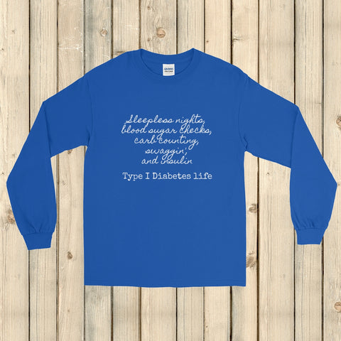 Type 1 Diabetes Life T1D Unisex Long Sleeved Shirt - Choose Color - Sunshine and Spoons Shop