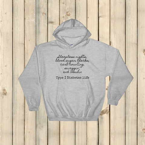 Type 1 Diabetes Life T1D Hoodie Sweatshirt - Choose Color