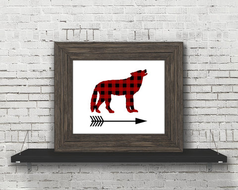 Buffalo Plaid Wolf Arrow Printable Print Art - Sunshine and Spoons Shop